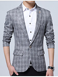 cheap -Men's Daily Simple Casual Spring Summer Short Blazer, Houndstooth Notch Lapel Polyester