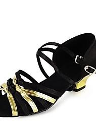 cheap -Non Customizable Latin Kid's Dance Shoes Sandals Satin Cuban Heel Black