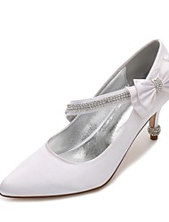 cheap -Women's Wedding Shoes Comfort Basic Pump Spring Summer Satin Wedding Dress Party & Evening Rhinestone Bowknot Sparkling Glitter Ribbon
