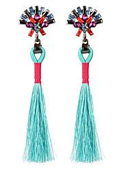 abordables -Mujer Cristal Borla / Largo Pendientes colgantes - Cristal Borla, Vintage, Bohemio Naranja / Azul Claro / Marrón Claro Para Fiesta / Cumpleaños / Regalo