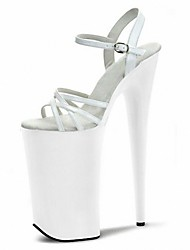 Women's Sandals Formal Shoes Summer PU Dress Party & Evening Buckle Lace-up Stiletto Heel White Clear 5in & over