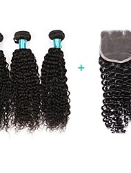 Недорогие -Пучок волос Бразильские волосы Kinky Curly 1 год 4 волосы ткет кг Пряди с быстрым креплением