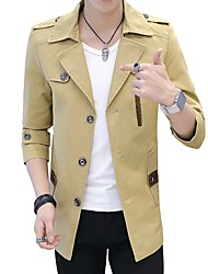 Men's Business Daily Chic & Modern Spring/Fall Winter JacketSolid Color Stand Half Sleeve Regular Polyester/Rayon(T/R) Fur Trim
