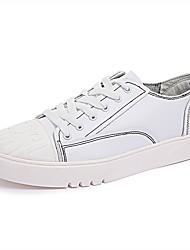 Da uomo Sneakers Footing Suole leggere Di pelle Cashmere Primavera Autunno Casual Lacci Piatto Bianco Nero 5 - 7 cm