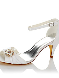 Women's Sandals Basic Pump Summer Fall Satin Wedding Party & Evening Dress Imitation Pearl Cone Heel White 2in-2 3/4in