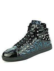 Недорогие -Для мужчин Кеды Удобная обувь Модная обувь Кожа Полиуретан Осень Зима Повседневные Заклепки Шнуровка На плоской подошве Белый ЧерныйНа
