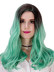 Cheap Natural Fashion Realistic Long Wavy Wig Ombre Mint Green Color Glueless Synthetic Wigs for Women