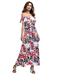 Women's Party Holiday Going out Sexy Vintage Simple Loose Swing Dress,Floral Boat Neck Maxi Short Sleeves Rayon All Seasons SummerMid