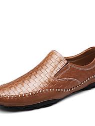 preiswerte -Herrn Schuhe Leder Winter Herbst Komfort Loafers & Slip-Ons Geflochtene Riemchen für Normal Büro & Karriere Party & Festivität Schwarz