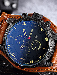 cheap -Men's Quartz Wrist Watch Sport Watch Chinese Calendar / date / day Water Resistant / Water Proof Genuine Leather Band Creative Casual