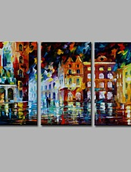 Late night Naples 3 Panels 100% Hand-painted Oil Paintings on Canvas Modern Artwork Wall Art for Room Decoration 20x28inchx3