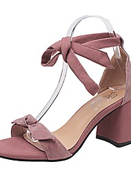 cheap -Women's Sandals Comfort PU Summer Casual Dress Lace-up Block Heel Blushing Pink Beige Black 2in-2 3/4in