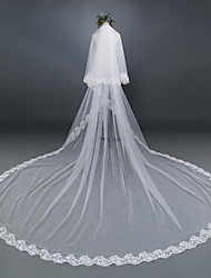 cheap -Two-tier Lace Applique Edge Wedding Veil Cathedral Veils With Applique Lace Tulle