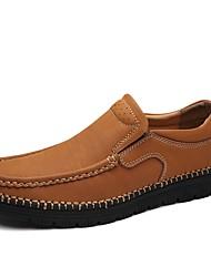 cheap -Men's Cowhide Summer / Fall Comfort Loafers & Slip-Ons Walking Shoes Black / Brown / Khaki