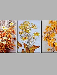 cheap -Oil Painting Hand Painted - Floral / Botanical Antique Artistic Abstract Modern / Contemporary Christmas Canvas Three Panels