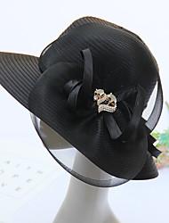 Для женщин Шапки Цветы Панама Широкополая шляпа,Весна/осень Лето Органза Однотонный Смешанные цвета