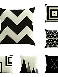 Set Of 6 Black & White Geometry Stripe Pillow Cover Sofa Cushion Cover Cotton/Linen Pillow Case
