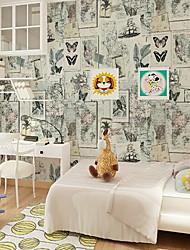 Frasi famose Mappa Formale Stampe Sfondo Per la casa Retrò Stile europeo Rivestimento pareti , PVC / Vinile Materiale Auto-adesivi sfondo
