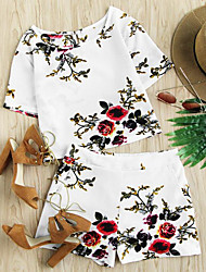 Damen Einfache Jacquard Mit Mustern T-Shirt-Ärmel Hose Anzüge,Rundhalsausschnitt Frühling Sommer Kurzarm