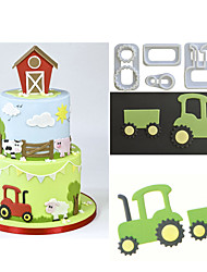 cheap -4Pcs/Set Tractor Plastic Fondant Cutter Cake/Cookie/Biscuit Cutter Mold Fondant Cake Decoration Tool Sugarcraft Bakeware Cake Tool