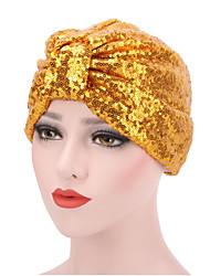 Women's Fashion Shiny Solid  Floppy Bucket Turban Hat & Cap