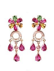 Недорогие -Жен. Серьги-слезки Bling Bling Мода Pоскошные ювелирные изделия Простой стиль Классика Позолоченное розовым золотом В форме цветка