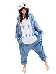 baratos -Adulto Pijamas Kigurumi Sapo / Corujas Pijamas Macacão Ocasiões Especiais Flanela Azul Cosplay Para Pijamas Animais desenho animado Dia das Bruxas Festival / Celebração / Natal