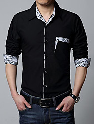 cheap -Men's Daily Casual Shirt,Solid Shirt Collar Long Sleeves Cotton