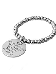 Fashion simple temperament generous titanium steel ball chain round card lettering father love declaration bracelet men and women apply new hot