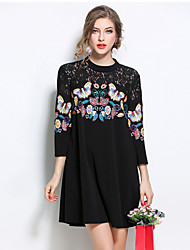 Women's Plus Size Slim chic Loose Dress Print Patchwork Lace Cut Out Round Neck Mini 3/4 Length Sleeves Fall Mid Rise