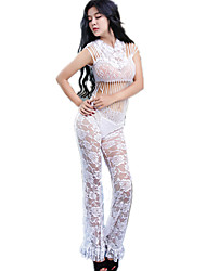 Women's Sexy Temptation Perspective White Net Yarn Pajamas Suits