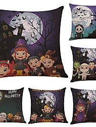 Set of 6 Halloween Little Magician pattern Linen Cushion Cover Home Office Sofa Square Pillow Case Decorative Cushion Covers Pillowcases (18*18Inch)