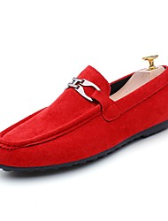 cheap -Men's Loafers & Slip-Ons Comfort Spring Fall Leatherette Casual Office & Career Flat Heel Red Gray Black Flat
