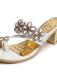 Women's Slippers & Flip-Flops Comfort Summer PU Walking Shoes Casual Flower Chunky Heel White Black 2in-2 3/4in