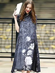 REVIENNE BAY  Women's Party Going out Casual/Daily Vintage Chinoiserie A Line Loose DressPrint Stand Midi Half Sleeve Cotton Linen Summer Mid Rise