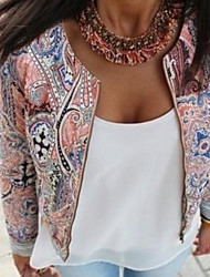 Women's Casual/Daily Simple Spring Jacket,Print Round Neck Long Sleeve Regular Polyester