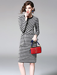 cheap -EWUS Women's Daily Going out Street chic A Line Dress,Striped Round Neck Knee-length 3/4 Length Sleeves Polyester Summer Fall High Rise