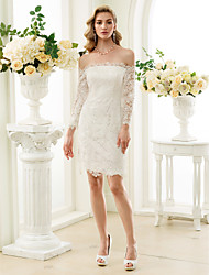 cheap -Sheath / Column Off Shoulder Knee Length Lace Wedding Dress with Zipper by LAN TING BRIDE®