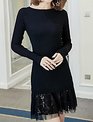Women's Casual/Daily Simple Sweater Dress,Patchwork Round Neck Above Knee Long Sleeves Cotton Acrylic Fall Winter High Rise Micro-elastic