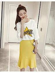 Damen Solide Muster Einfach Lässig/Alltäglich T-Shirt-Ärmel Rock Anzüge,Rundhalsausschnitt Frühling ¾ Ärmel