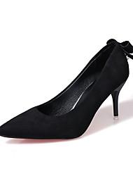 preiswerte -Damen Schuhe PU Frühling Sommer Komfort Pumps High Heels Stöckelabsatz Spitze Zehe Schleife für Kleid Party & Festivität Schwarz Grau Rot