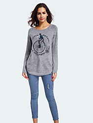 cheap -Women's Casual/Daily Short Pullover,Print Round Neck Long Sleeves Rabbit Fur Winter Medium Micro-elastic