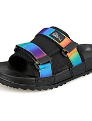 cheap -Men's Slippers & Flip-Flops Slippers Summer PU Casual Outdoor Flat Heel Rainbow Black/White Screen Color Flat