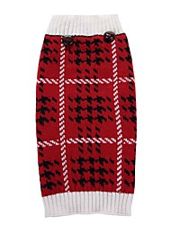 Cat Dog Coat Sweater Dog Clothes Party Casual/Daily Cosplay Keep Warm Wedding Halloween Christmas New Year's Plaid/Check Red
