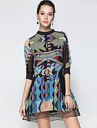 abordables -Mujer Línea A Corte Ancho Vestido - Estampado Escote Chino