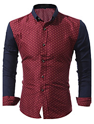 New Arrival Hot Sale Men's Going out Casual/Daily Vintage Simple Summer Fall ShirtPolka Dot Print Square Neck Long Sleeves Cotton Thin