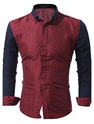 abordables -Hombre Estampado - Algodón Camisa A Lunares