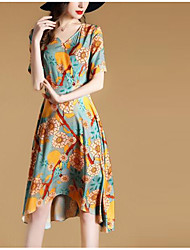 Women's Going out Chinoiserie A Line Dress,Floral V Neck Knee-length Short Sleeve Silk Summer Mid Rise Micro-elastic Translucent