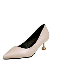 cheap -Women's Heels Comfort Basic Pump Spring Summer PU Wedding Dress Party & Evening Office & Career Bowknot Kitten Heel White Black Beige Ruby
