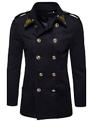 Men's Daily Going out Simple Vintage Casual Winter Pea Coat,Print Shirt Collar Long Sleeve Long Nylon Embroidered